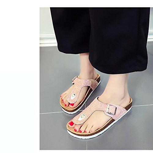 Bininbox Womens Bling Flip Flops Strand Tofflor Sommar Diabilder Sandaler Rosa