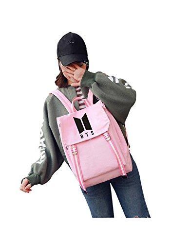 Price comparison product image Kpop BTS Schoolbag Backpack For Bangtan Boys Bts Album Pencil Case Set Canvas Messenger Bag School Bag For ARMY (pink)