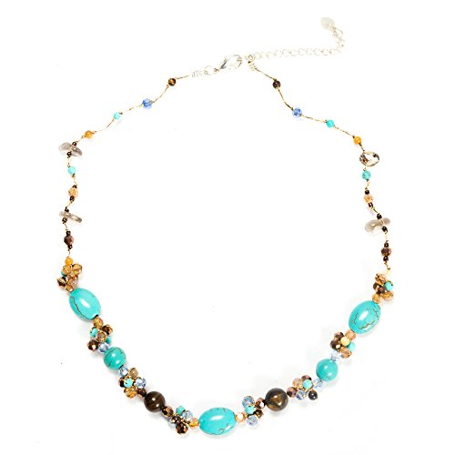 Silk Thread Blue Turquoise and Tiger Eye Gemstone Beads Crystal Cluster Necklace, 17