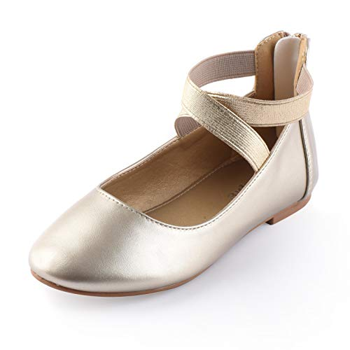 Nova Utopia Toddler Little Girls Dress Ballet Elastic Ankle Strap Flat Shoes,NF Utopia Girl NFGF316 Gold 11