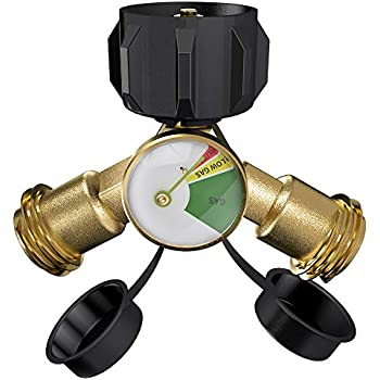 SHINESTAR Propane Y Splitter Tee Adapter with Propane Tank Gauge Level Indicator Leak Detector - Work with BBQ Grills, Camping Stoves, Gas Burners, Heater