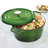 Crock-Pot 108073.02 Elmington Round Cast Iron Dutch Oven, 5 quart, Gradient Green