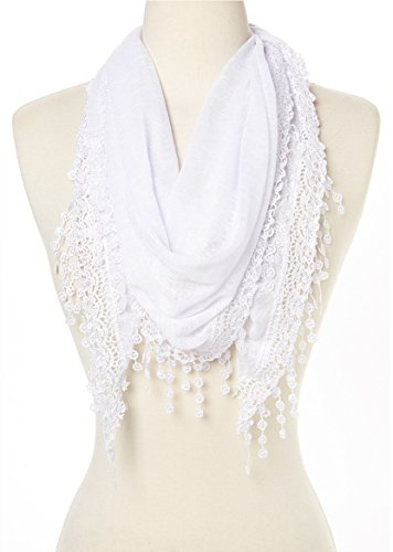 Cindy & Wendy Lightweight Triangle Floral Fashion Lace Fringe Scarf Wrap for Women (SSLS-White) - White Floral Scarf