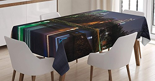 CHARMHOME Apartment Cotton Linen Tablecloth, Dining Room Kitchen Rectangular Table Cover 60(W) X120(L) inchInch, Dallas Skyline Reflected in A Lake City Park Trees Night Landscape Scene ()