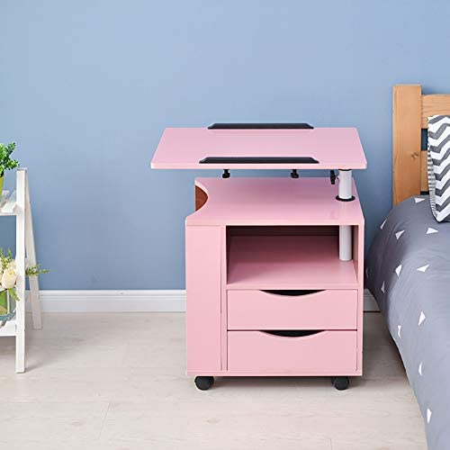 KTOL Adjustable Multifunction Nightstand with Computer Stand,Modern Office Bedside Furniture with 4 Casters 2-Drawer Removable Storage Shelf MDF Bedroom Accessories Pink
