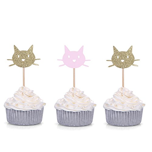 24 CT Gold and Pink Kitten Cat Glitter Cupcake Toppers - by -
