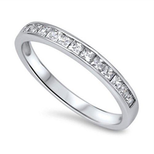 (Half Eternity Band Ring Wedding Engagement Princess Cut Square Invisible Cubic Zirconia 925 Sterling Silver 5-12)