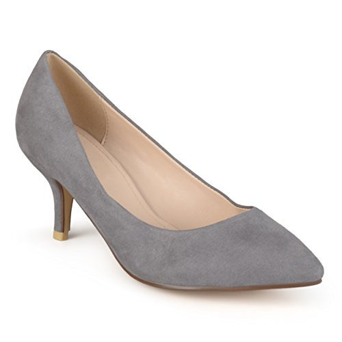 Journee Collection Womens Pointed Toe Classic Matte Pumps Grey Suede cspKY