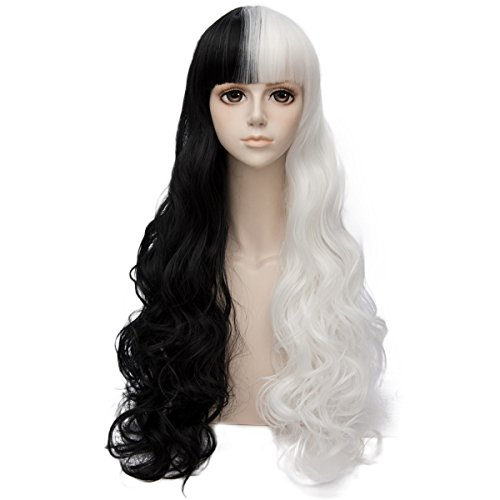 Wimepom Costume Fashion Wavy Long Hair Wigs for Halloween Party Wedding Daily Use Natural and Healthy,Black and White by Wimepom