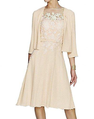 mia La Spitze Chiffon Braut mit Jaket Hochzeits Kurzes Abendkleider Brautmutterkleider Langarm Knielang Beige Partykleider dvwURnw