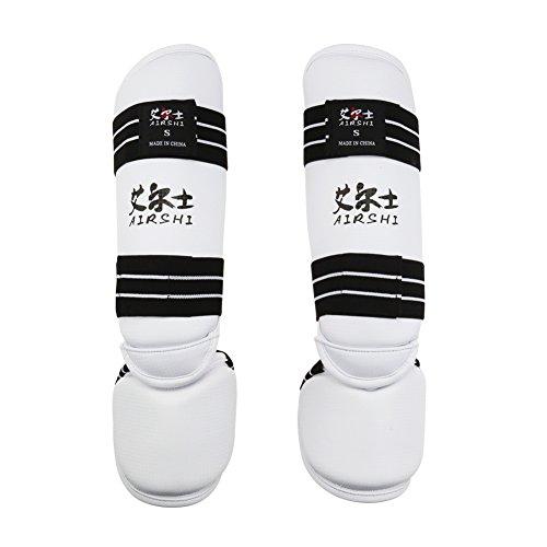 AIRSHI Taekwondo Shin Instep Guard Leg Foot Pads Kick Protectors (L)