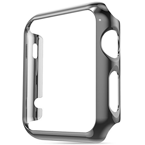 Apple Watch Case Series 4 Super Thin PC Plating Protective Bumper Scratch Resistant Protector Case for Apple Watch Case 44mm (44mm, Black)