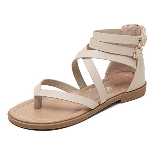 (Aunimeifly Summer Ladies Roma Zipper Flat Women's Cross Buckle Clip Toes Sandals Flip-Flop Casual Shoes Khaki)