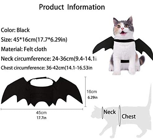 Nigua Pet Cat Bat Wings for Halloween, Cosplay Bat Wing Costume Decoration for Puppy Dog Cat 23