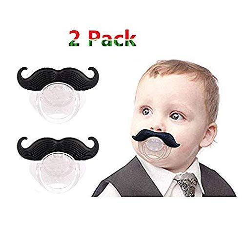 2 Pack Baby Funny Pacifier Cute Kissable Mustache Pacifier for Babies and Toddlers Unisex - BPA Free Latex Free Made with Silicone (Black1) ()