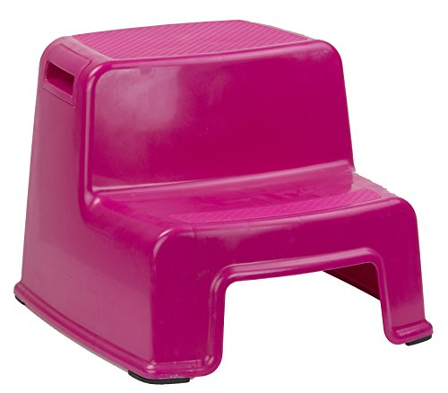 Home Basics 2 Tier Step Stool with Rubber Top (Pink) by Home Basics