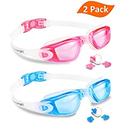 Swim Goggles, Pack of 2, EVERSPORT Swimming Glasses for Adult Men Women Youth Kids Child, Anti-Fog, UV Protection, Shatter-proof, Watertight (LightBlue&Pink)