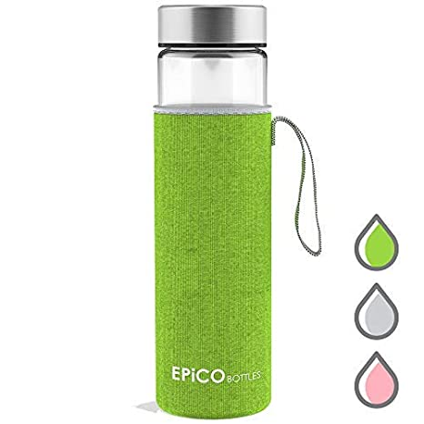 the best factory authentic top design EPiCO BOTTLES Glass Water Bottle 21oz - 600ml | Reusable Drinking Bottles  BPA Free | Portable & Eco-friendly