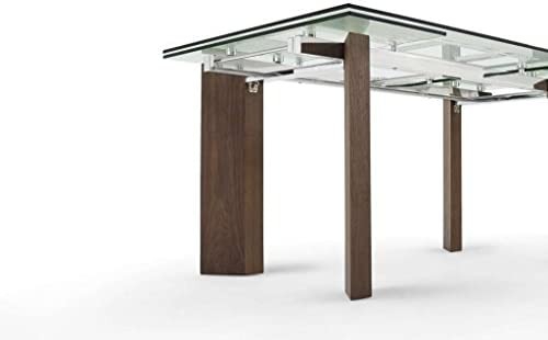 Creative Furniture Royce Extendable Dining Table, Transparent Walnut