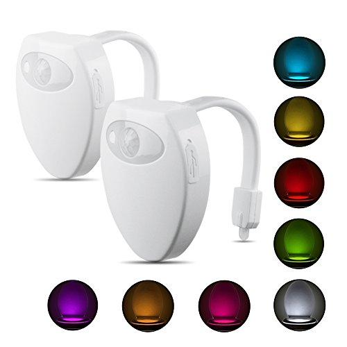 Toilet Lights, SZMiNiLED USB Rechargeable Toilet Light Motion Activated Night Lights 8 Color Changing LED [2 Pack]