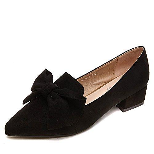 Damenschuhe,Komfortabel, Mit Einem Paar Von Spitzen fersen.,Dicke Und Bogen Schwarze Schuhe A