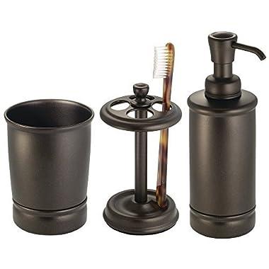 mDesign 3-Piece Bath Vanity Accessories - Soap Dispenser, Tootbrush holder, Tumbler, Bronze