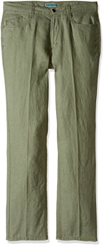Cubavera Men's 100% Linen 5-Pocket Pant, Deep Lichen Green, 36W x 30L