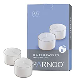 Set of 72 White Tealight Candles with Clear Cup Burn 8 Hour, Unscented in a Box