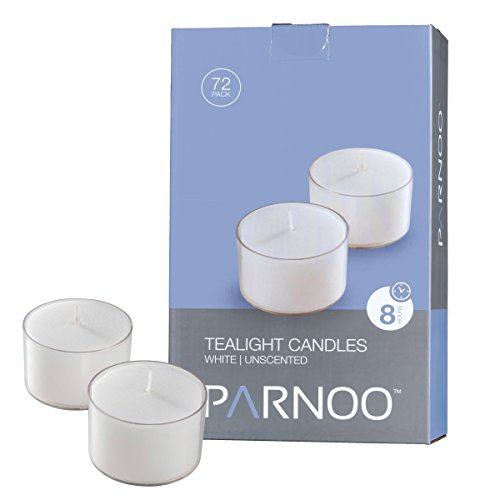 White Tealight Candles with Clear Cup - Set of 72 Unscented Tea Lights - 8 Hour Burn Time