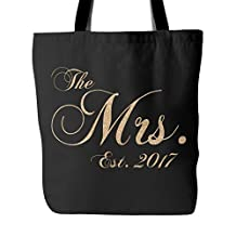 The Mrs. Est 2017 Canvas Tote Bag Bridal Shower Bachelorette Wedding Gifts