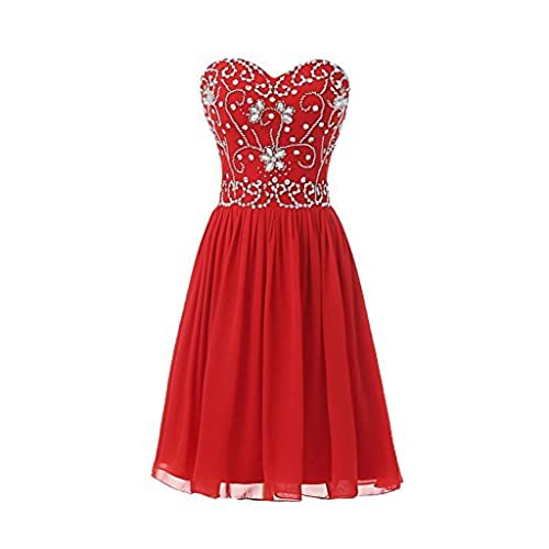 Ellames Short Beading Prom Homecoming Party Dresses for Juniors Red US 24Plus