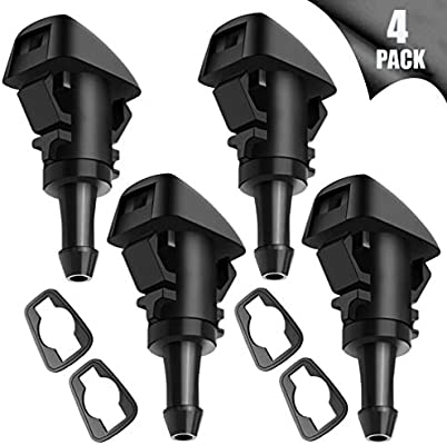 Windshield Wiper Washer Nozzle Spray Jet Kit for Dodge Grand Caravan Dodge Caliber Dodge Journey Dodge Durango Dodg Ram Jeep Compass Jeep Grand Cherokee Chrysler PT Cruiser Chrysler Town and Country Replaces 4805742AB 5116079AA 5113049AA