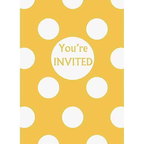 Yellow Polka Dot Party Invitations, -