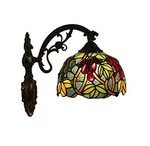 GDLight Tiffany Style Grapes Wall Lamp Stained Glass Corridor Wall Sconce Lamp Fixture with 8-Inch Shade for Corridor Hallway Bedroom Living Room,A