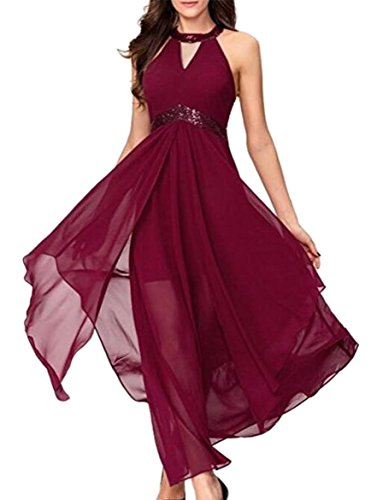 Jaycargogo Femmes V-cou Robes De Soirée Taille Empire Sans Manches Rouge