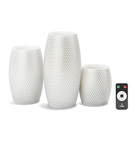 Large Flameless Candles with Remote, Silver, Warm White LEDs, Honeycomb Carved Design, Variety Set, Batteries Included - Set of 3