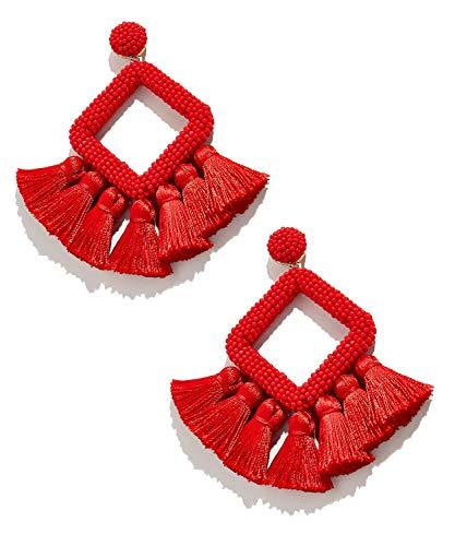 Tassel Earrings for Women - Statement Handmade Dangle Fringe Earrings for Women, Idea Gift for Sister, Wife and Friends (Red)