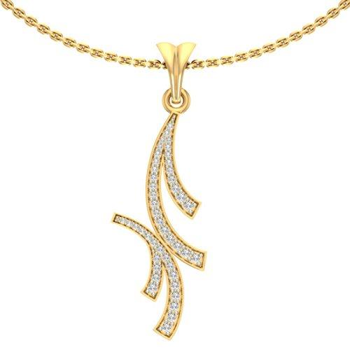 18K Or jaune 0,21CT TW Round-cut-diamond (IJ | SI) diamant Pendentif