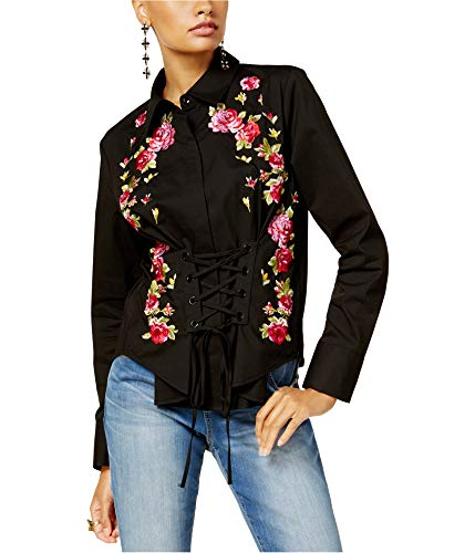 INC Womens Embroidered Button Front Corset Top Black S from I-N-C