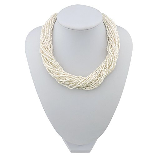 BOCAR Multiple Strand Handmade Beaded 16 Statement Collar Necklace for Women with Gift Box (NK-10402-cream)