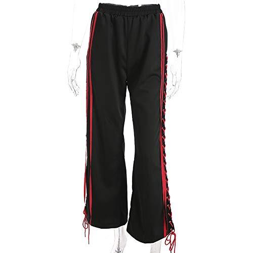 Abbigliamento Donna I Pantaloni Poliestere Cravatta Laterale Cavo Streamer Lungo A Vita Alta Tempo Libero Cinturino Elastico Sciolto Femmina Street Hipster Autunno Black