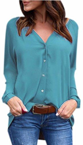 Chiffon Casual Boutons Chemise Chic Fuxiang Longue Mousseline T Femme V Col Femmes Irrgulire Chemisier Bleu Shirts avec Paon Chemisiers Top Shirt Chemisiers Manche Blouse qPvTq1nW