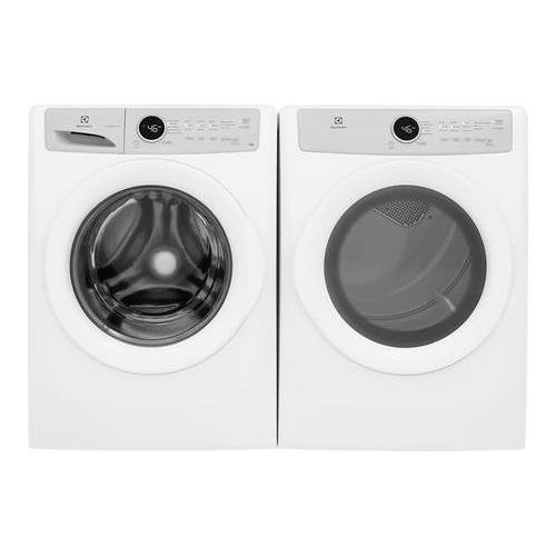 Electrolux White Front Load Laundry Pair with EFLW317TIW 27″ Washer and EFDG317TIW 27″ Gas Dryer
