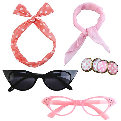 Aneco 6 Pack 50¡¯s Costume Set Chiffon Scarf Cat Eye Glasses Bandana Tie Headband Earrings for Women Accessories¡­ -