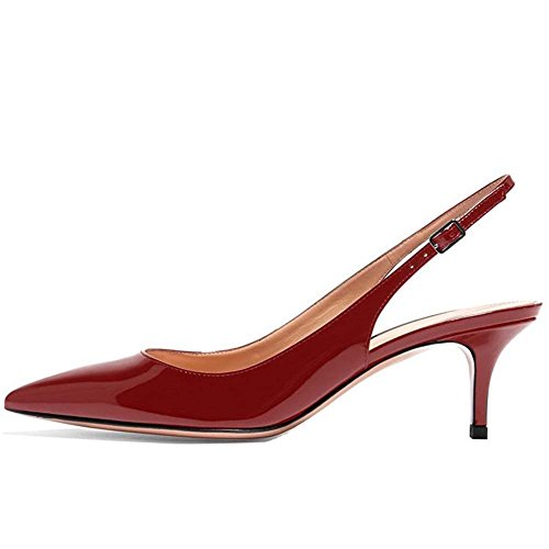 Patent Look Slingback - Kmeioo Kitten Heels Pumps, Pointed Toe Slingback Sandals Ankle Strap Low Heel Pumps Evening Party Wedding Shoes 6.5CM-Wine Red-(US 10M)