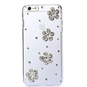 JJE DIY Five-petaled Blooms with Rhinestones Pattern Plastic Hard Cover for iPhone 6 Plus