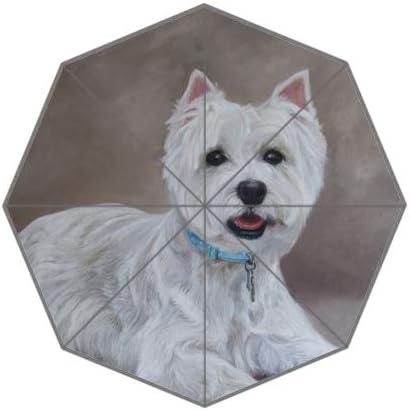 White Dog Oil Painting Custom Unique Durable Custom Foldable Umbrella