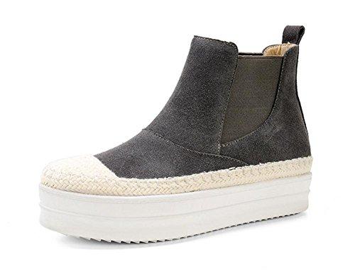 planos inferior Duantong mollete botas primavera paja grey botas zapatos mujer de botas qxwaOfHnCF