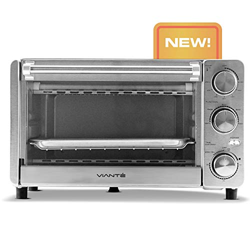 Viante Mini Designer Toaster Oven | All-Stainless Steel Construction. Rare in its size | Bagel, Toast, Broil, Reheat & Bake Functions | High Quality Control Knobs | Fits a small chicken.