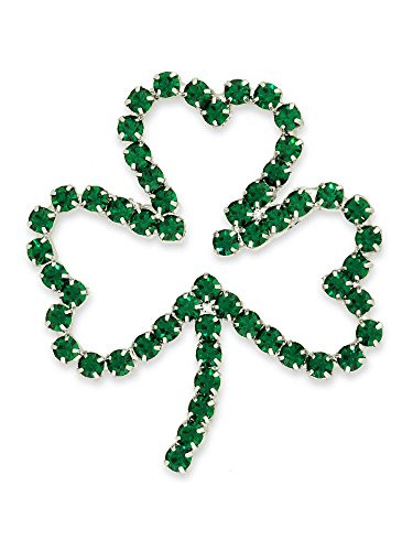 PinMart Green Rhinestone Shamrock Outline St Patrick's Day Brooch (Outline Brooch Pin)